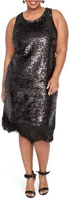 Rachel Roy Lea Sequin Fringe Detail Dress