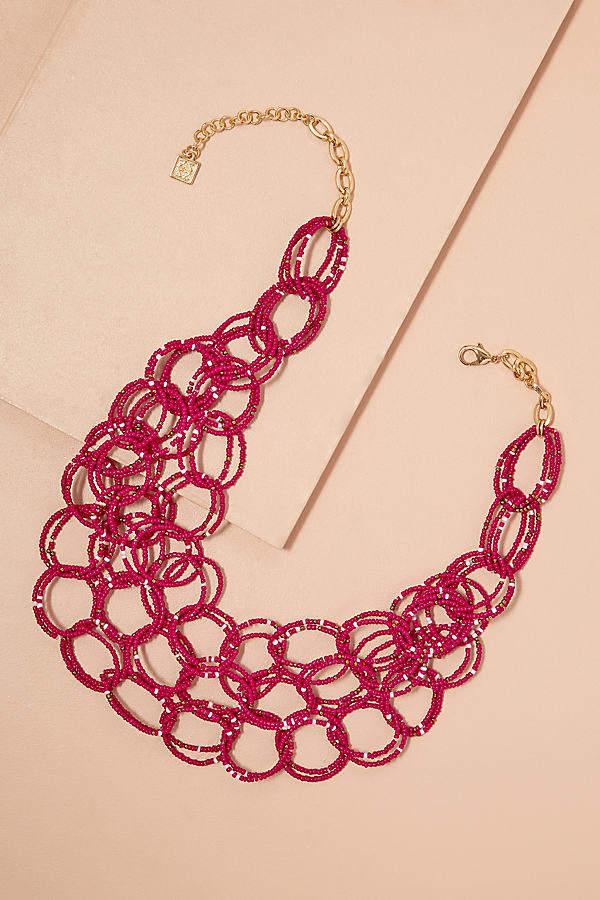 Charlotta Halskette mit Perlen und Kreisdesign - Pink