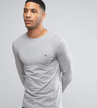 Tommy Hilfiger Long Sleeve Top Flag Logo In Grey Heather Exclusive To Asos