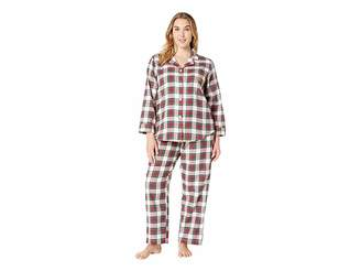 Lauren Ralph Lauren Plus Size Brushed Twill Long Sleeve Classic Notch Collar Pajama Set