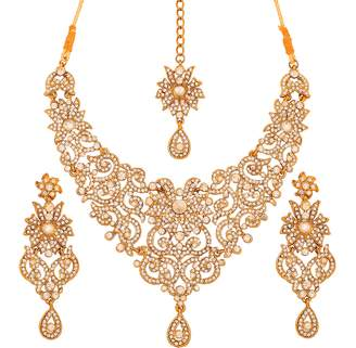 Touchstone Indian Bollywood traditional royal look attractive filigree carving white Rhinestone grand bridal designer jewelry necklace set for women in antique tone