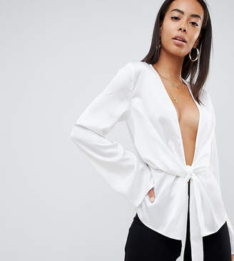 Missguided Tall Plunge Satin Blouse