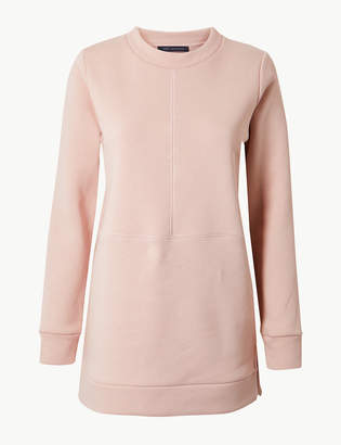 Marks and Spencer Cotton Rich Longline Long Sleeve Sweatshirt