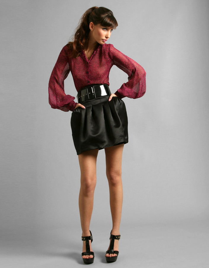 By Berman High Waisted Satin Bubble Mini Skirt