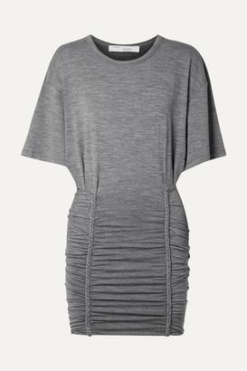 IRO Speedy Ruched Stretch-jersey Mini Dress - Gray