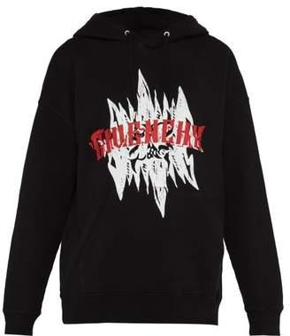 Givenchy Gothic Logo Printed Hooded Cotton Sweatshirt - Mens - Black