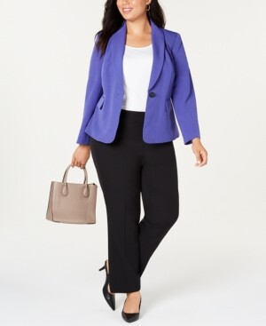 Le Suit Plus Size Shawl-Collar Pantsuit