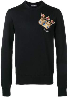 Dolce & Gabbana embroidered crown jumper