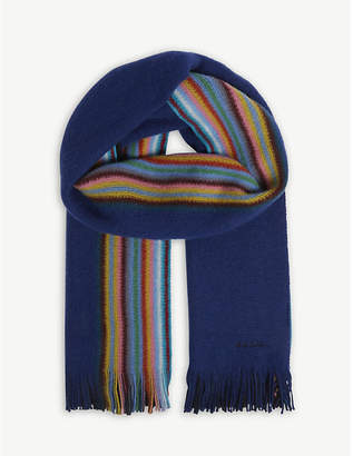 Paul Smith Half striped merino wool scarf