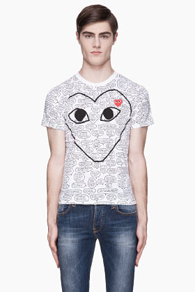 Comme des Garcons White Speech Bubble Print T-Shirt