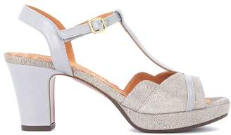 Chie Mihara (チエ ミハラ) - Chie Mihara Belina Grey And Metallic Leather Heeled Sandal
