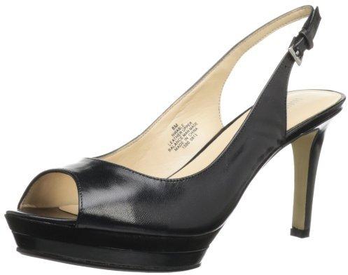 Nine West Women's Able Slingback Sandal,Black Leather,6 M US