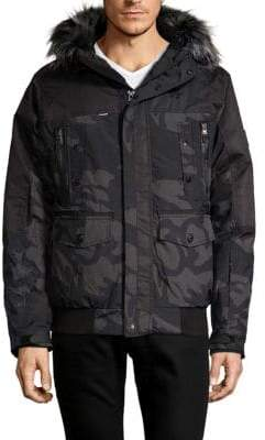 ProjekRaw Faux-Fur Trimmed Camo Puffer Bomber Jacket