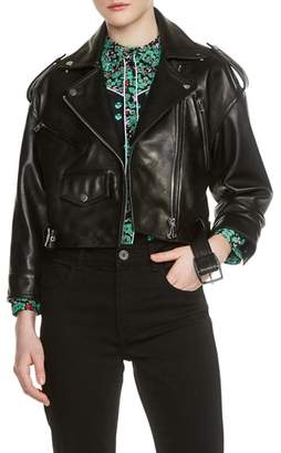 Maje Lambskin Leather Moto Jacket