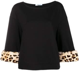 Blumarine leopard print cuff sweatshirt