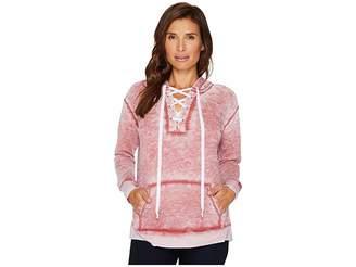 Allen Allen Long Sleeve Lace Front Pullover Hoodie Women's Sweatshirt