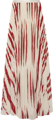 Tory Burch - Lucea Printed Crinkled-chiffon Maxi Skirt - Cream $695 thestylecure.com