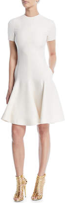Valentino Short-Sleeve Crewneck Fit-and-Flare Crepe Couture Dress
