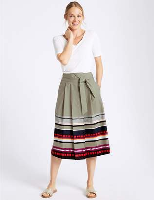 Marks and Spencer Cotton Rich Printed A-Line Midi Skirt
