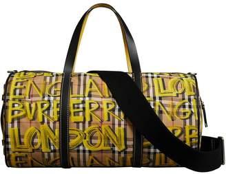 Burberry Medium Graffiti Print Vintage Check Barrel Bag