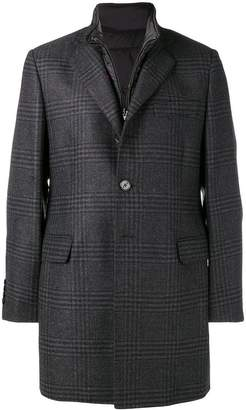 Fay gilet insert checked coat