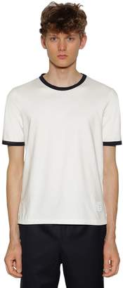 Thom Browne Cotton Jersey T-Shirt W/ Stripe Details