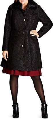 City Chic Plus Winter Rose Faux Faur-Collar Coat