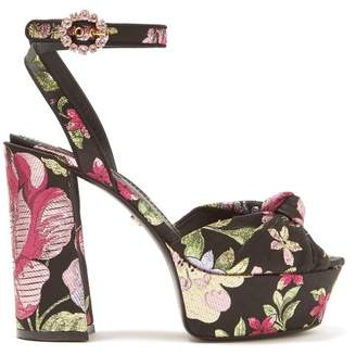 Dolce & Gabbana Keira Floral Brocade Platform Sandals - Womens - Black Multi