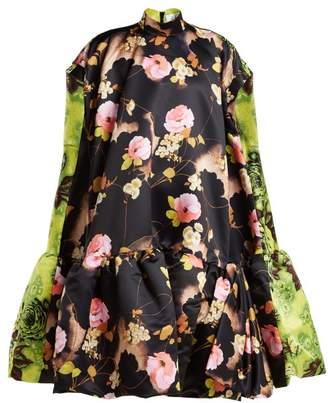 Richard Quinn - Floral Print Satin Midi Dress - Womens - Multi