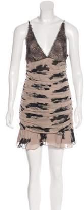 Elizabeth and James Silk Printed Dress Tan Silk Printed Dress