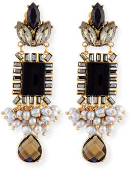 Sequin Mixed Crystal Statement Earrings, Black