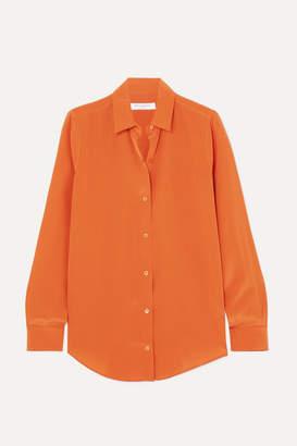 Equipment Essential Silk Crepe De Chine Shirt - Orange
