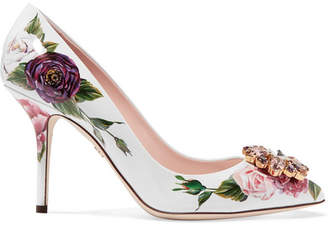 Dolce & Gabbana Crystal-embellished Floral-print Patent-leather Pumps - White