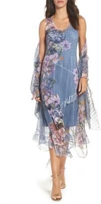 Women's Komarov Chiffon & Lace A-Line Dress With Shawl $418 thestylecure.com