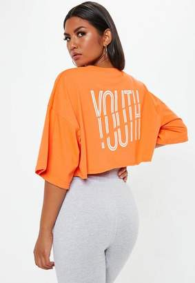 Missguided Orange Youth Graphic Cropped T Shirt
