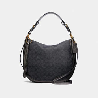 8676d6f0031a Coach Sutton Hobo In Signature Canvas With Snakeskin Detail