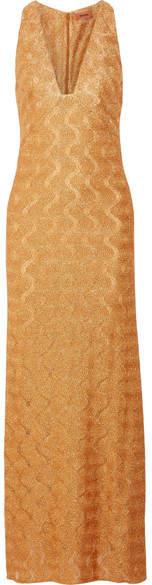 Missoni - Metallic Crochet-knit Maxi Dress - Gold
