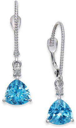 Macy's Blue Topaz (2 ct. t.w.) & Diamond Accent Drop Earrings in 14k White Gold