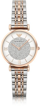 Emporio Armani T-Bar Two Tone Stainless Steel Women's Watch w/Crystals Dial