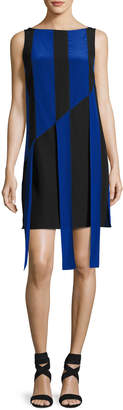 Akris Sleeveless Front-Sash A-Line Dress, Black/Azul
