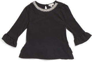 Little Girls Jeweled Neck Top