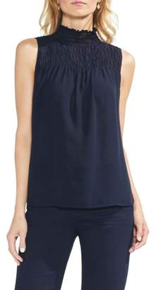 Vince Camuto Sleeveless Smocked Mock Neck Blouse