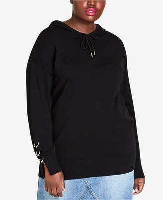 City Chic Plus Size Bull-Ring Embellished Hoodie
