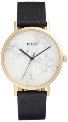 Women's Cluse 'La Roche' Leather Strap Marble Watch, 38Mm $179 thestylecure.com