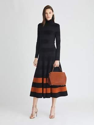 Oscar de la Renta Striped Knit Turtleneck Dress