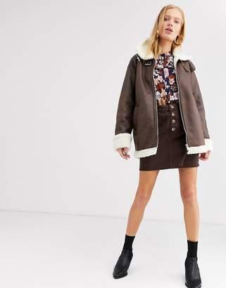 Monki faux leather aviator jacket in brown