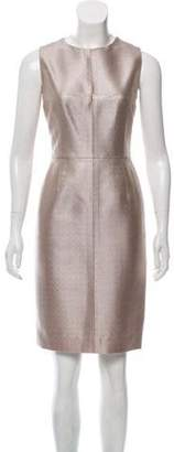 J. Mendel Metallic Sheath Dress Beige Metallic Sheath Dress