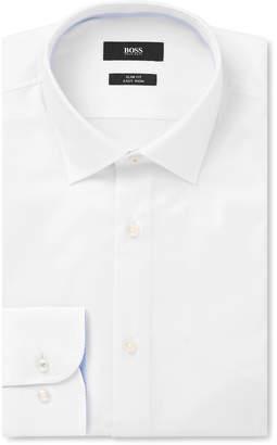 HUGO BOSS White Jesse Slim-Fit Cotton-Poplin Shirt