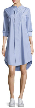 Theory Jodalee Taff Striped Shirtdress, Blue/White $248 thestylecure.com