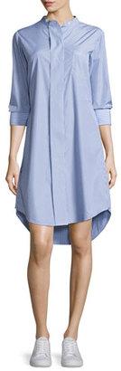 Theory Jodalee Taff Striped Shirtdress, Blue/White $355 thestylecure.com